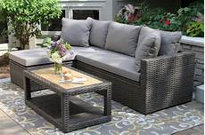 3pc teak brown wicker sectional sofa set with