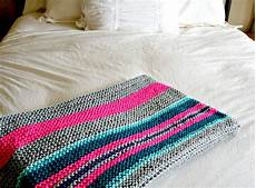 easy stripes knit blanket throw in a stitch