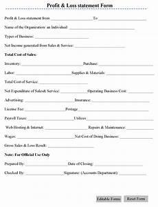 Profit Loss Statement Form Profit Amp Loss Statement Form Editable Forms