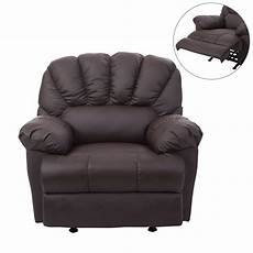 homcom pu leather rocking sofa chair recliner brown