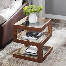 modern unique square side table storage end table with