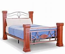 lavish omega solid wooden metal bed frame with mahogany