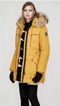 pajar winter coat parka mustard yellow fur