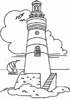 leuchtturm mit segelboot ausmalbild malvorlage gemischt