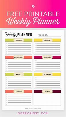 Downloadable Daily Planner Free Printable Weekly Planner Weekly Planner Printable