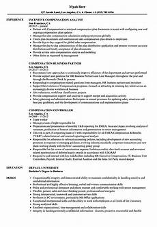 Compensation Analyst Resumes Compensation And Benefits Analyst Cv June 2020
