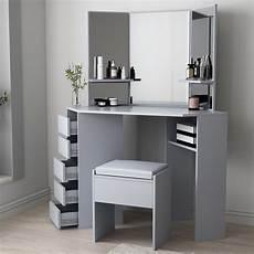 grey corner dressing table makeup desk w 5 drawers 3