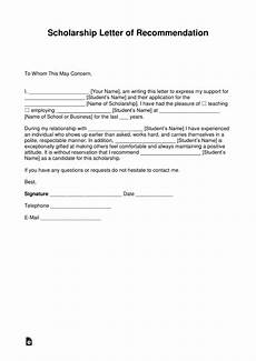 Sample Letter Of Recommendation For Scholarship Free Recommendation Letter For Scholarship Template With