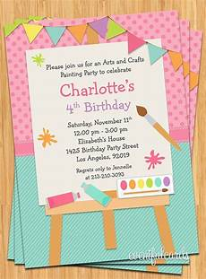 Bday Party Invites Art Painting Birthday Party Invitation For Kids Printable