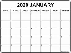 Blank 2020 Calendar By Month To Print January 2020 Calendar Free Printable Monthly Calendars