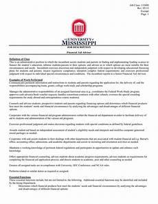 Financial Advisor Description Job Description Financial Aid Advisor