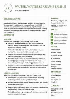 Resume For A Server Waiter Waitress Resume Example Amp Writing Tips Resume