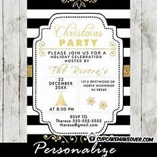 Black And White Christmas Invitations Elegant Holiday Party Invitations Black And White Stripes