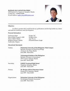 Personal Data In Resume Latest Resume