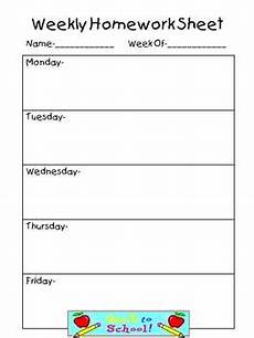 Printable Homework Sheet Weekly Homework Sheet Complete Set By Teaching The Stars Tpt