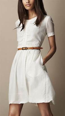 lyst burberry brit gathered waist silk cotton dress in white