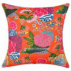 24 quot oversized large orange tropical kantha sofa
