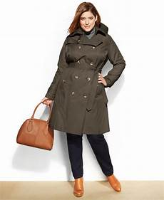 lyst fog plus size belted trench coat in gray