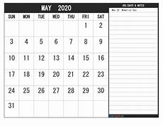2020 Printable Monthly Calendar With Holidays May 2020 Calendar With Holidays Free Printable Free