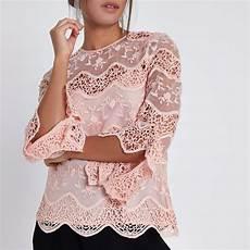 Womens Light Pink Blouse Light Pink Lace Long Sleeve Top Blouses Tops Women