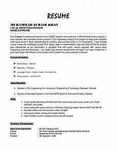 Civil Supervisor Cv Sample Resume Zubair Khan Civil Qc Inspector
