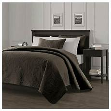 king size solid brown embossed oversized 3 pc quilt