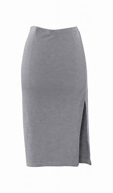 gray jersey pencil skirt with side slit