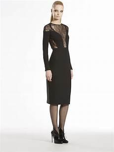 lyst gucci lace fern sleeve dress in black