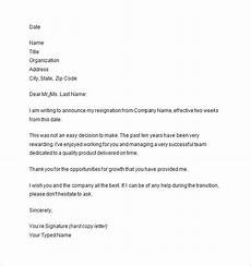 Two Weeks Notice Letter Examples 10 Two Weeks Notice Letter Templates Pdf Doc Free