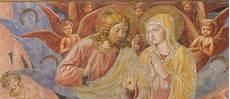 fresco in san gimignano jesus and stock