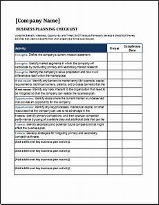 Business Plan Checklist Template Business Planning Checklist For Excel Word Amp Excel Templates