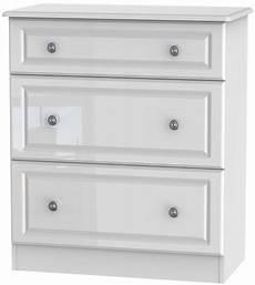 buy pembroke high gloss white 3 drawer chest