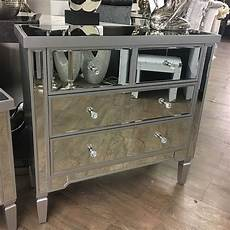 set of silver mirrored chest of drawers and 2