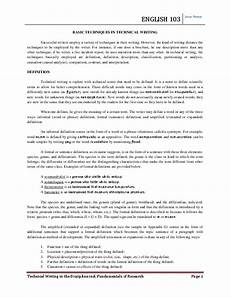Technical Writing Example Pdf English 103 Basic Techniques In Technical Writing