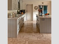 Neutral kitchen with travertine floor tiles   Kitchen flooring ideas   housetohome.co.uk