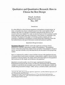 An Example Of A Research Design Pdf Qualitative And Quantitative Research How To Choose