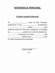 Cartas De Referencias Personal Referencia Personal