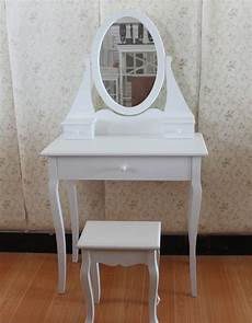 new white dressing room table with oval mirror and stool