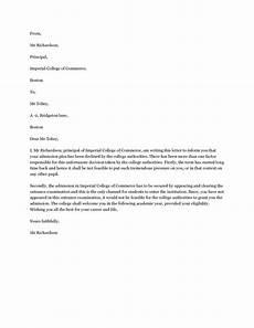 Decline Letter Decline Admission Letter The Letter Should Be Brief