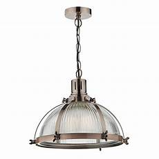 Pewter Pendant Light Fitting Vintage Hanging Ceiling Pendant With Ribbed Glass Shade