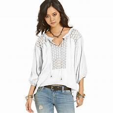 white peasant blouse free lace peasant blouse in white lyst