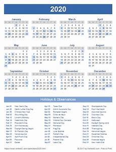 2020 Calendar With Holidays Printable 2020 Calendar Templates And Images