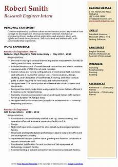 Research Intern Resume Research Engineer Resume Samples Qwikresume