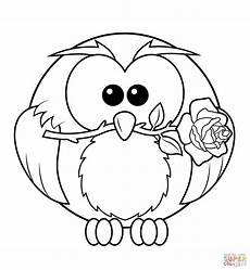 Owl Sheets Owl With Rose Coloring Page Free Printable Coloring Pages