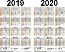 2020 16 Year Calendar 2019 2020 Two Year Calendar Free Printable Microsoft
