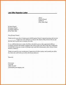 How To Reject Job Offer 5 Job Offer Rejection Letter Marital Settlements