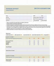 Employee Assessment Form Free 7 Job Assessment Form Samples In Sample Example Format