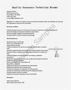 Quality Control Technician Resumes Resume Samples Quality Assurance Technician Resume Sample