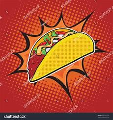 Pop Art Food Taco Fast Food Vector Pop Art Retro Style Menu Comic