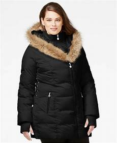 coats with plus betsey johnson plus size faux fur trim quilted puffer coat